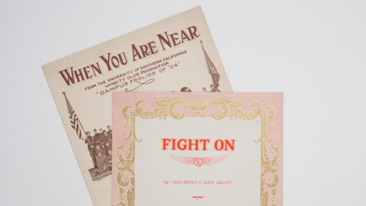 "Examples from the University Archives, including a ""Fight On"" songbook"